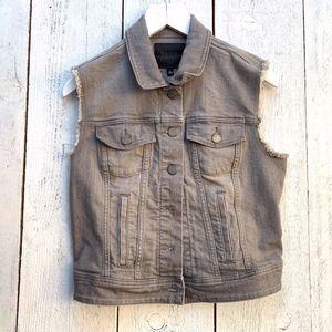 Paige Reagan Gray Jean Trucker Vest Size M